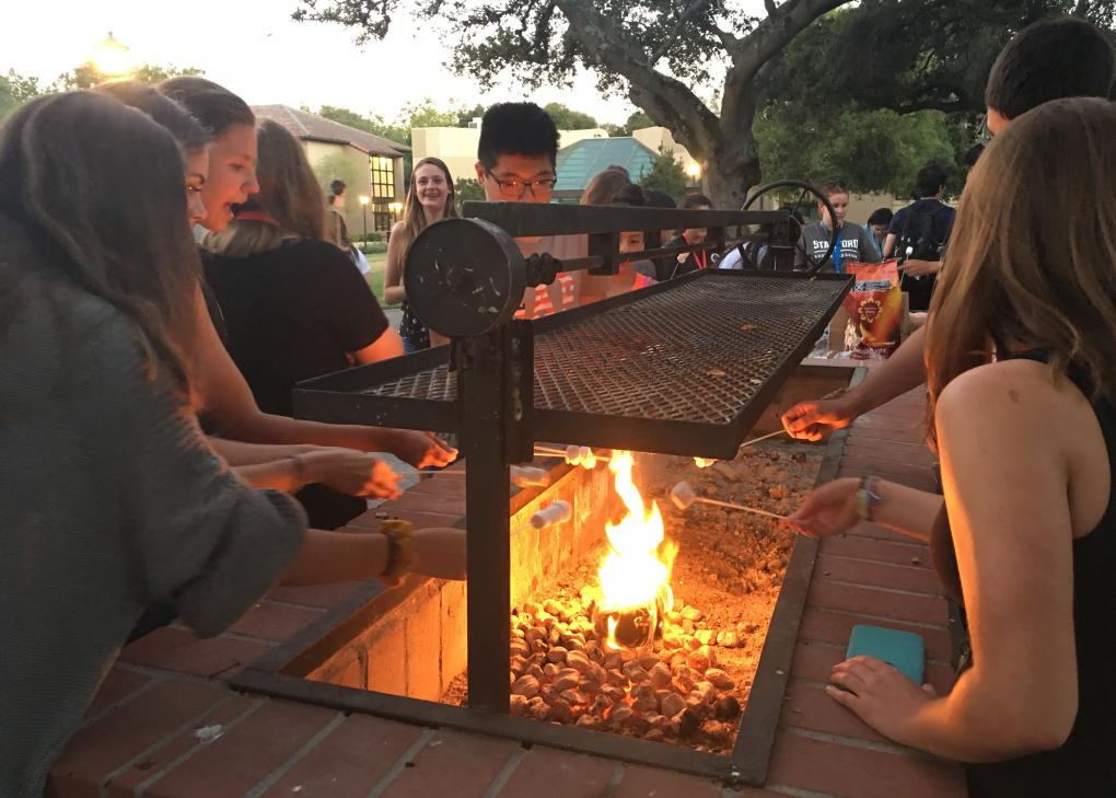 Students making s'mores